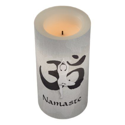 YOGA Instructor Watercolor Meditation Pose Om Sign Flameless Candle - custom diy cyo personalize gift idea