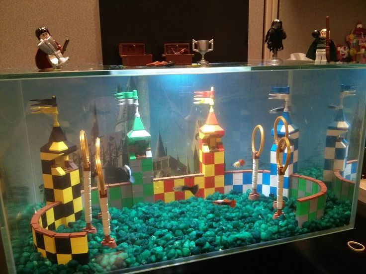 Our aquarium is cool, but I think we really messed up. It should have been a quidditch pitch.