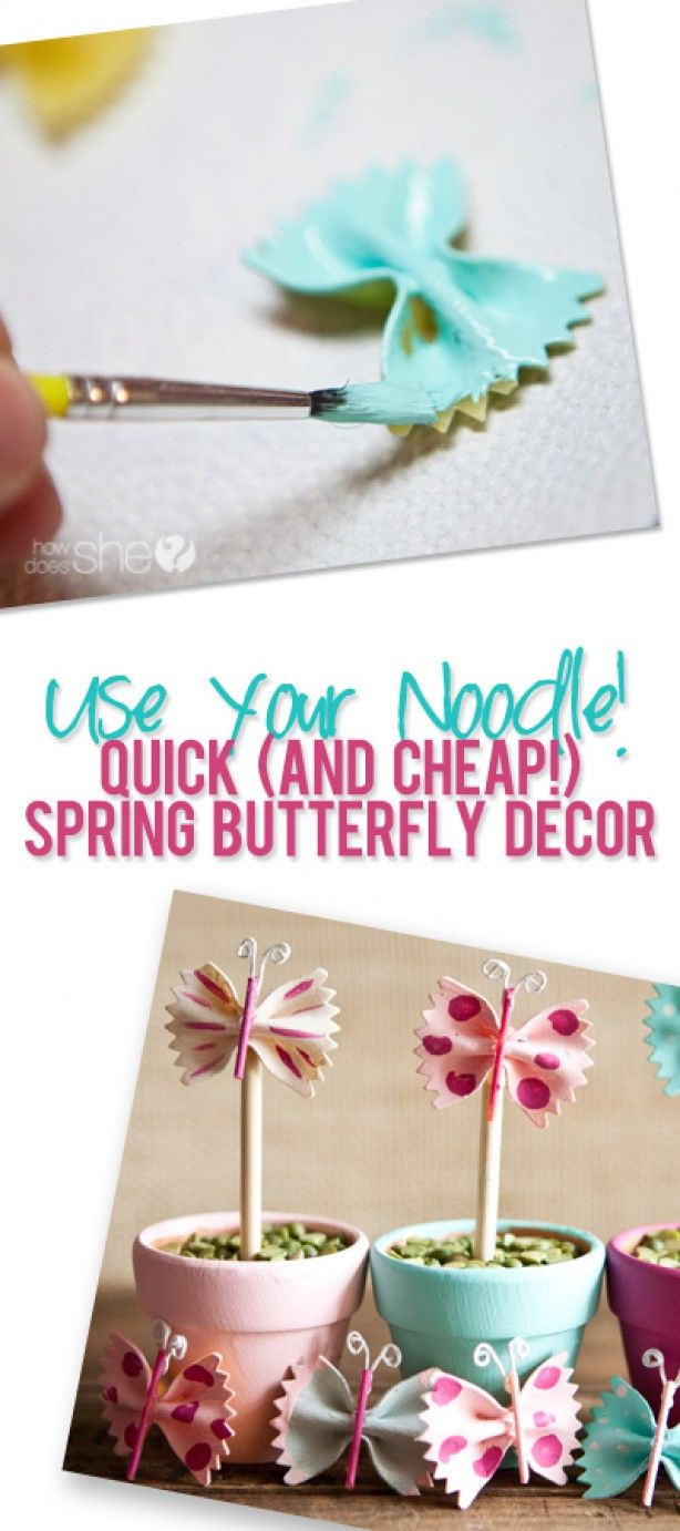 Use your noodle! Quick (and cheap!) spring butterfly decor