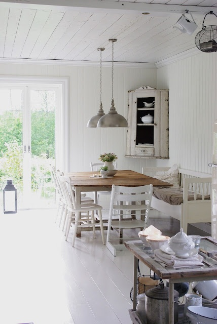 Pendant lights over dining table. In black to match kitchen hardware.