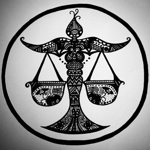 Zentangle Zodiac art - Libra,  (Made with a black posca pen)  #PLKdesign