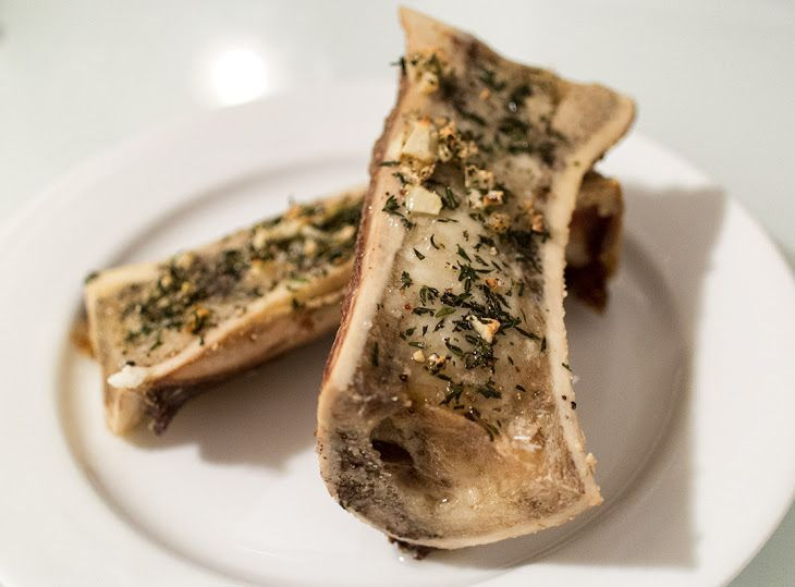 Roasted Bone Marrow Recipe with beef bones, garlic, thyme, salt, pepper