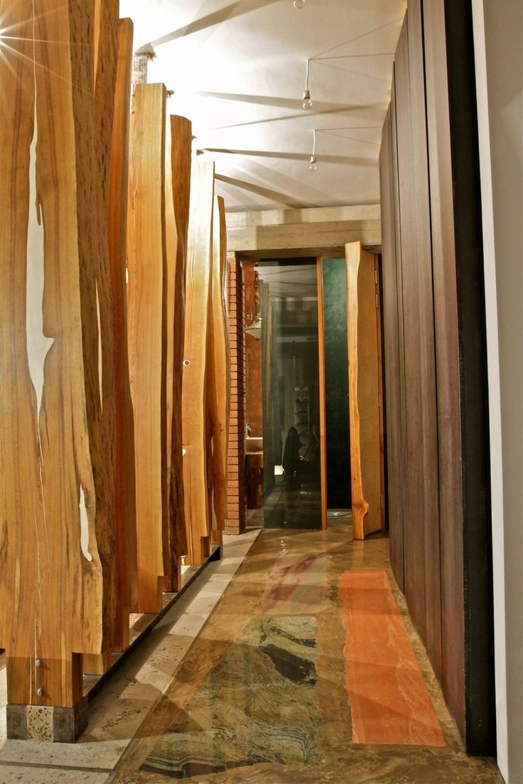 Architecture Corridor With Black Chocolate Wood Wall