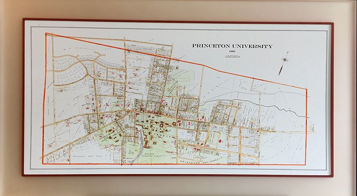Princeton University 1905 Map in Frosted Acrylic Frame