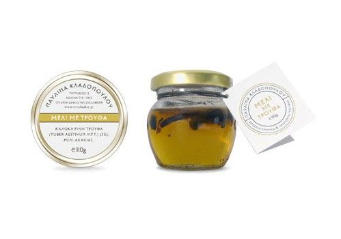 $19.96Net weight: 110g(3.88oz) This is a unique honey from acacia flowers, enriched with thin slices of white summer truffle. Combines perfectly with white cheese and creams. Unique salad seasoning. Can be used for flavouring sauces.