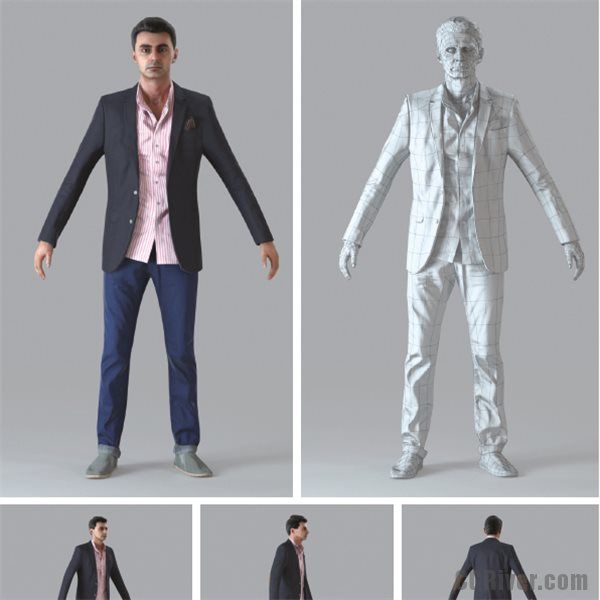 Realistic Rigged 3D Human Model with One Motion Capture