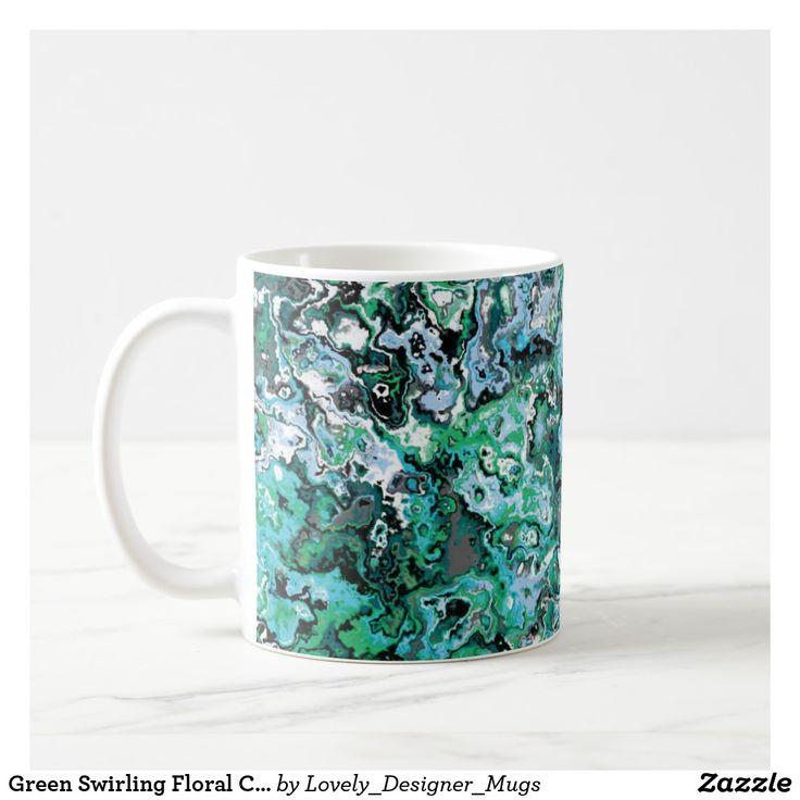 Green Swirling Floral Classic Designer Mug