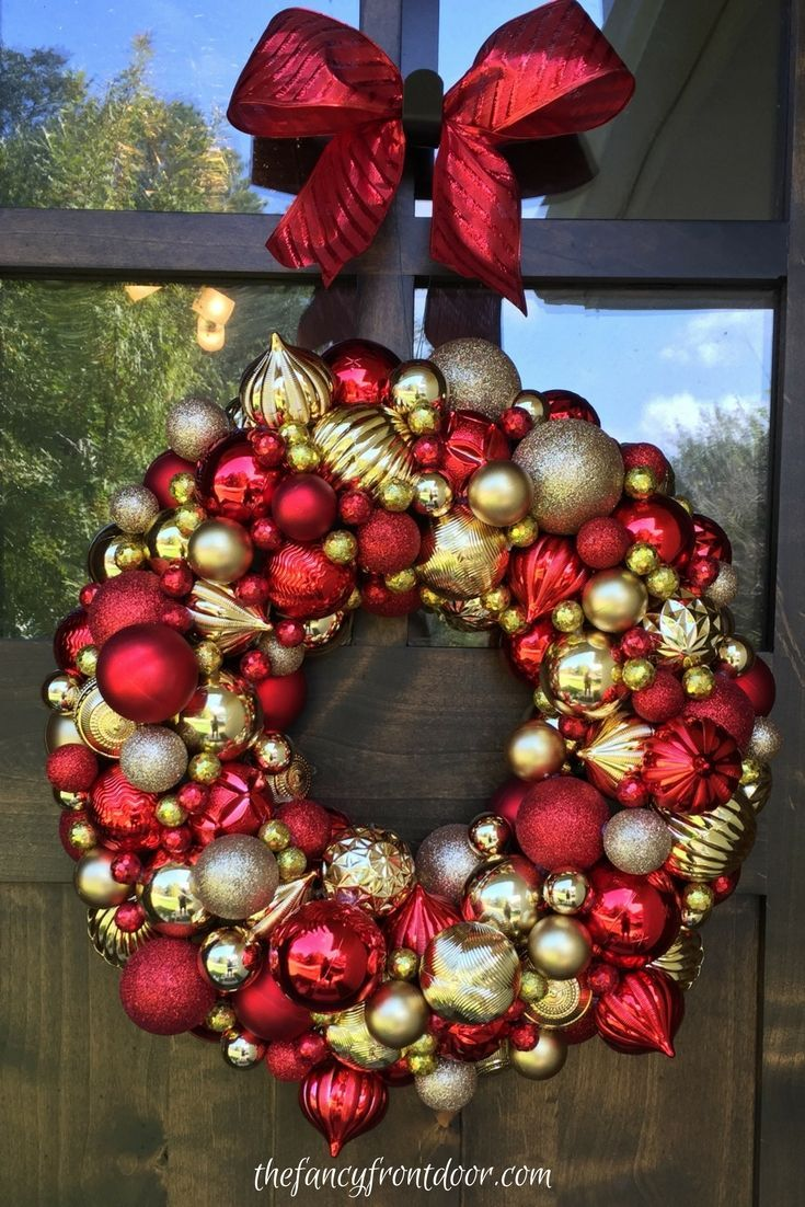 Red And Gold Christmas Ornament Wreath Ideas By Fancy Front Door Christ Red And Gold Christmas Tree Red Gold Christmas Decorations Gold Christmas Decorations