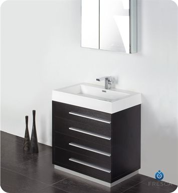 "fvn8030bw   Fresca Livello 30"" Black Modern Bathroom Vanity with Medicine Cabinet"