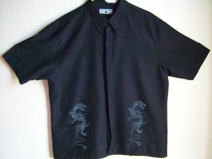 Men's XL Jonathan Adams Black Shirt with Silver Velvet Dragons Button-Front ShSl #freeship #karate