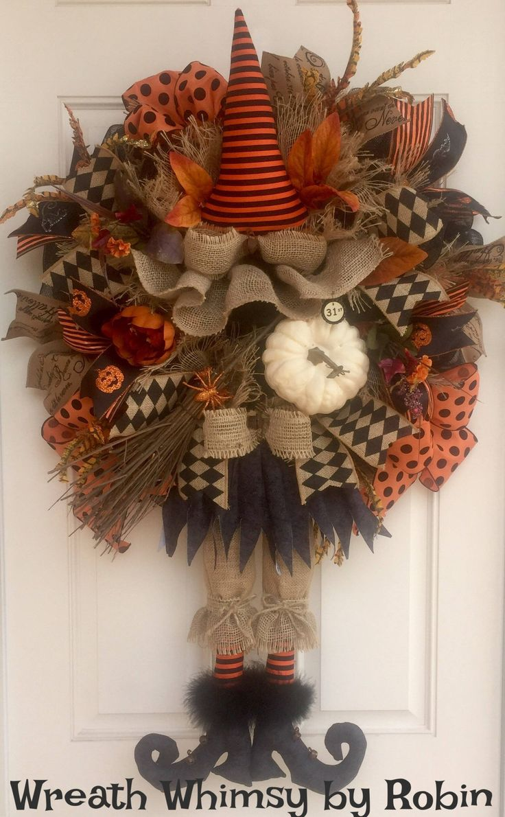 Primitive Halloween Burlap and Mesh Witch Wreath, Front Door Wreath, Rustic Halloween, Halloween Decor, Fall Wreath, Witch Decor by WreathWhimsybyRobin on Etsy