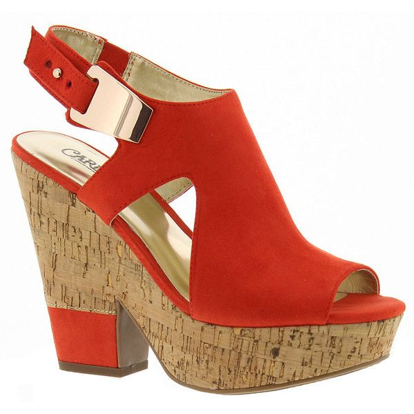 Carlos By Carlos Santana Bristol Women's Red Sandal 8.5 M ($79) ❤ liked on Polyvore featuring shoes, sandals, red, wedge shoes, ankle wrap sandals, red sandals, wedge heel sandals and high wedge sandals
