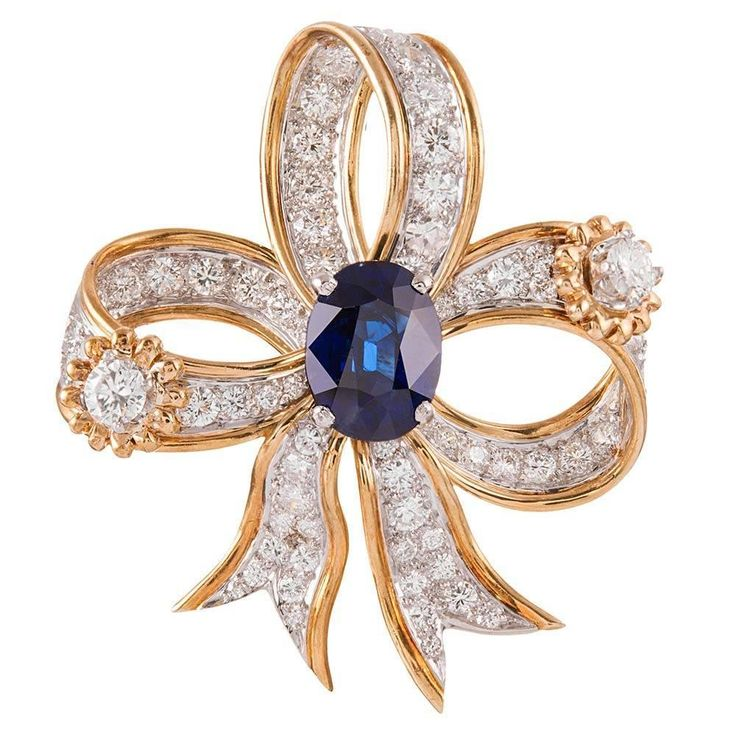 Tiffany and Co. Schlumberger  Sapphire  Diamond Bow Brooch