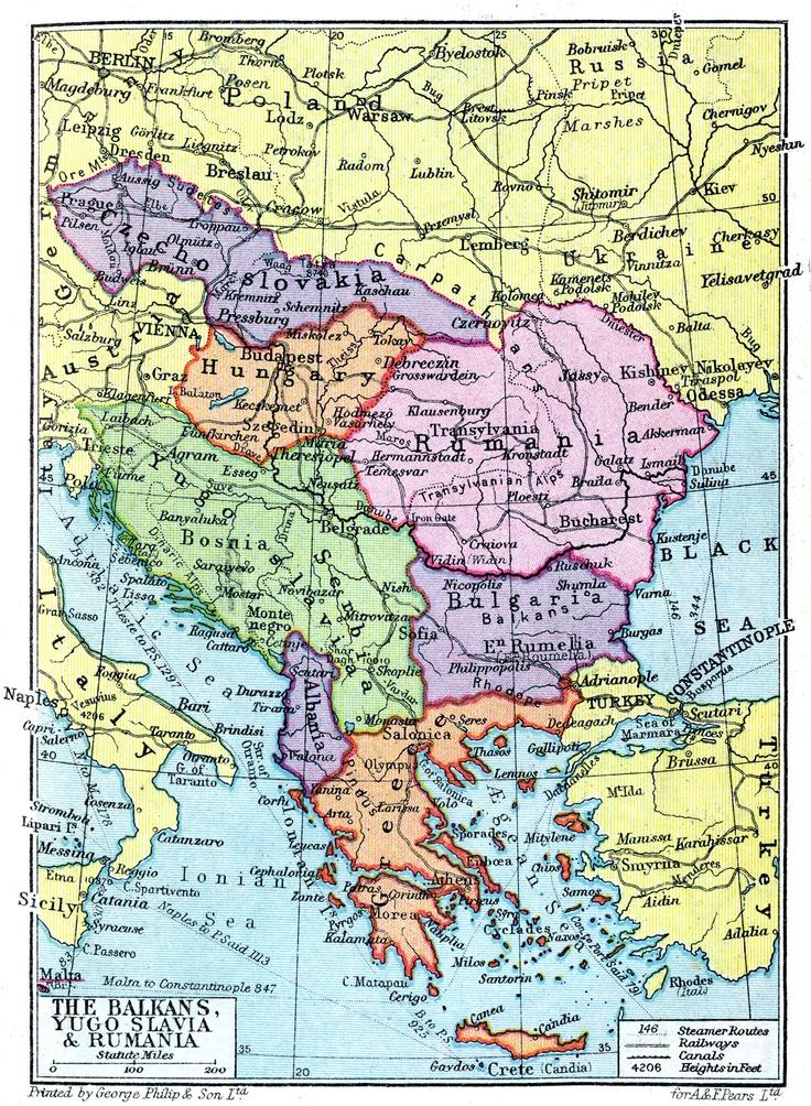 Balkans, Yugoslavia & Rumania Map