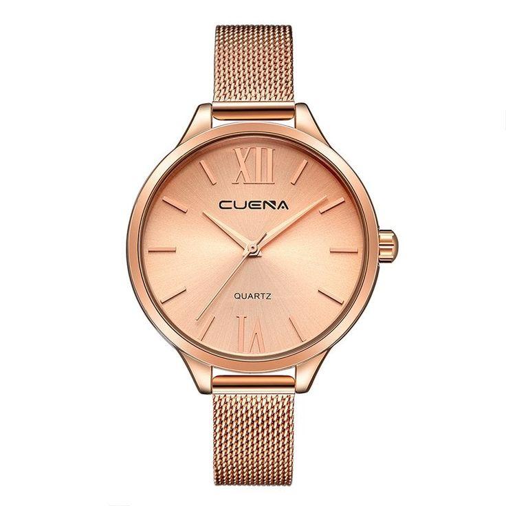 CUENA 6641G Women Luxury Quartz Analog Watch Stainless Steel Band Waterproof Wristwatch