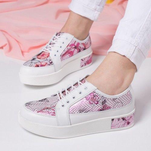 Pantofi dama Piele Eider albi cu rosu casual