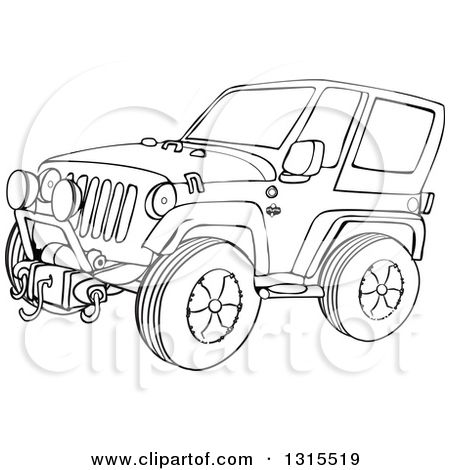1315519-Outline-Clipart-Of-A-Cartoon-Black-And-White-Jeep-Wrangler-SUV-On-Rocks-Royalty-Free-Lineart-Vector-Illustration.jpg (450×470)