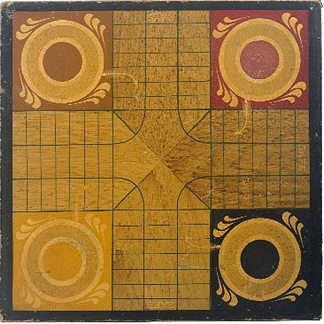 Grain Painted Antique Parcheesi Gameboard