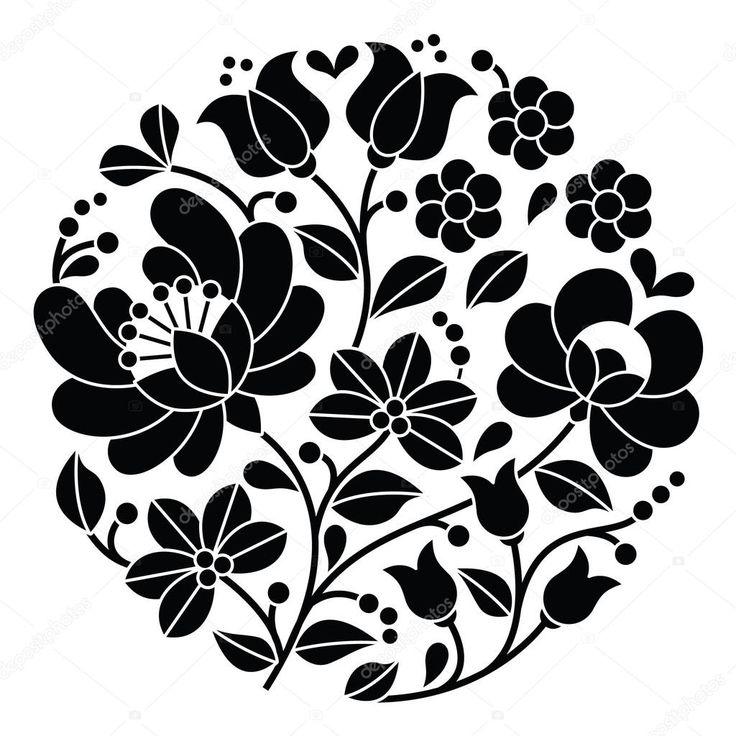Download - Kalocsai black embroidery - Hungarian round floral folk pattern — Stock Illustration #72389287
