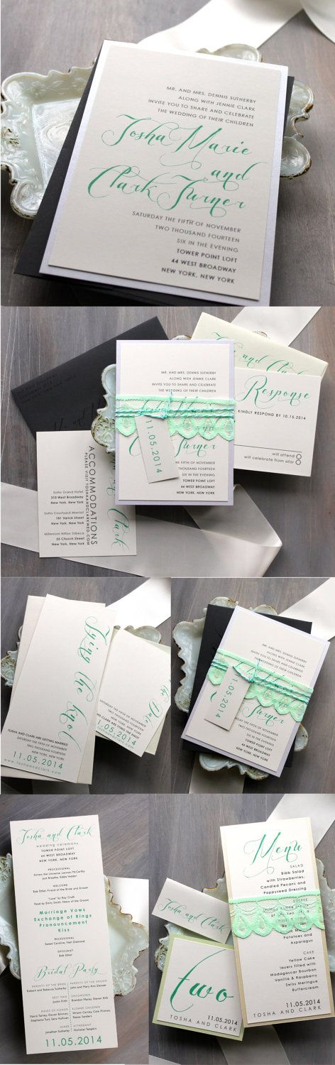 Mint Script - Modern & Vintage Wedding Invitations, Mint Green, Lace, Gray - Purchase for a Sample. $6.75, via Etsy.