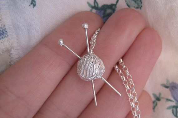 Handmade fine silver knitting needle and yarnball by silverpebble......mother goose loves xx
