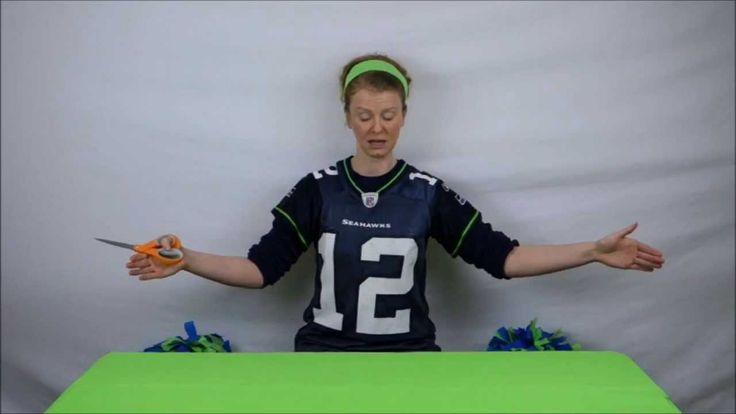 How To Make Cheer Leading Pom Poms - Seahawks colors. Seahawks pom poms full tutorial