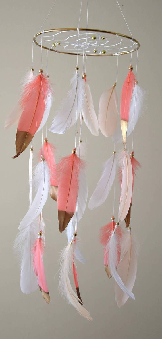 Coral Gold Pink Nursery Decor Baby Mobile Dreamcatcher  Boho