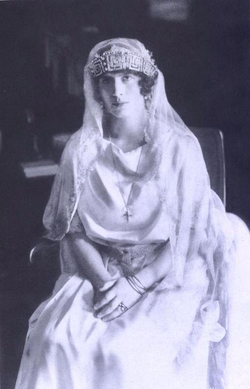 Princess Eleni of Greece and Denmark at her wedding to Prince Carol of Romania