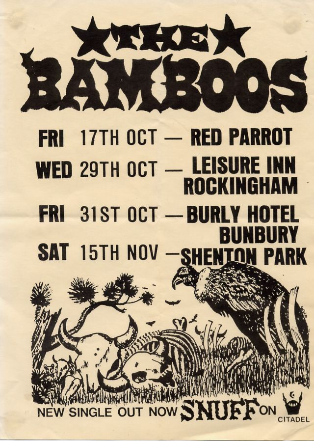 "I just remember how loud the Bamboos were.  They regularly maxed out the ""candy-stick"" soundo-meter at the back of the Shenton Park hotel (did they break it – or was it the Kryptonics?).  Snuff, their signature tune was a staple track on local radio for some time. Their cactus, desert and bones typified the harder ragged edge of there sound compared to other bands of the time."