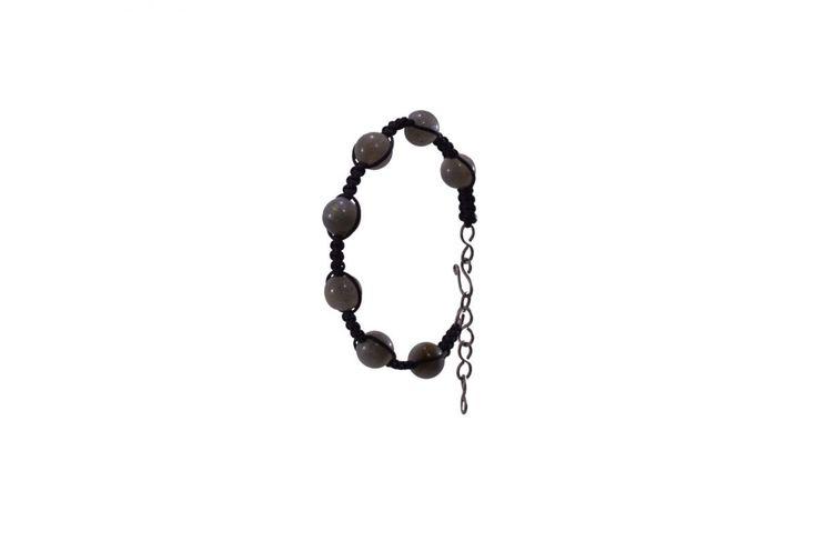 Ανδρικό πλεκτό βραχιόλι με λαμπραδορίτη και τιτάνιο - Macrame bracelet for men with labradorite and titanium