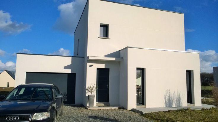"""Photo Marche porte d'entrée allée devant la maison - Ille Et Vilaine (35) - Projet """"Cube RT2012 en Bretagne"""" - ForumConstruire.com"""