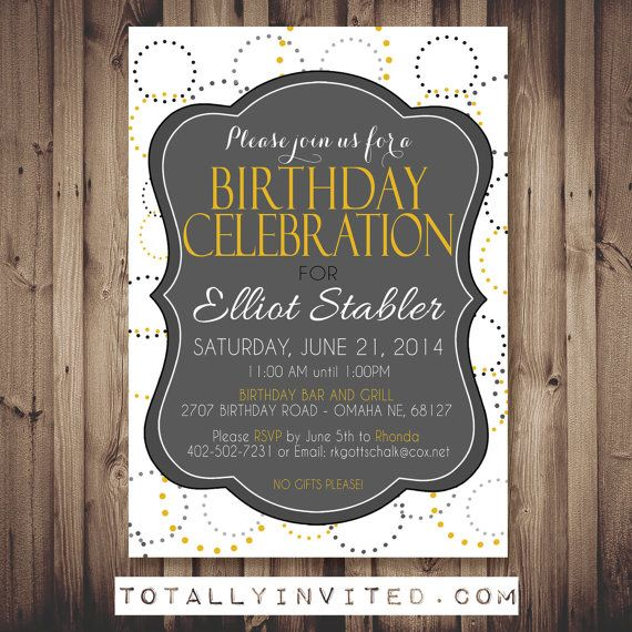 Classic Birthday Party Invitation. Great For Adults And