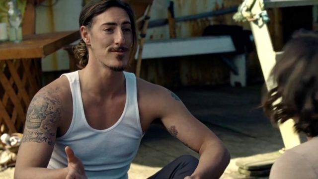 Eric Balfour's tattoos are actually his own, they aren't added to play Duke. (Haven)