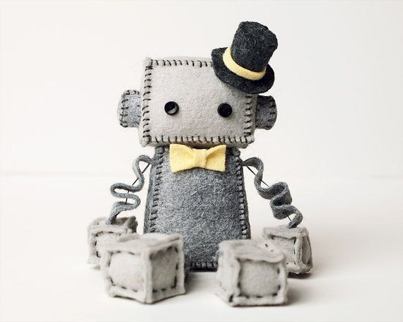 Gray Plush Felt Robot with Top Hat and Yellow Bow by GinnyPenny