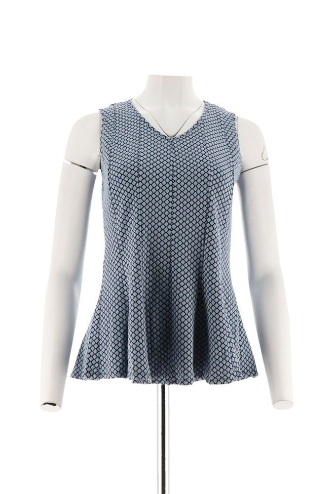 509d34d7d1a H Halston Slvless Jacquard Peplum Top Blue XS NEW A292237  fashion  clothing   shoes  accessories  womensclothing  tops (ebay link)