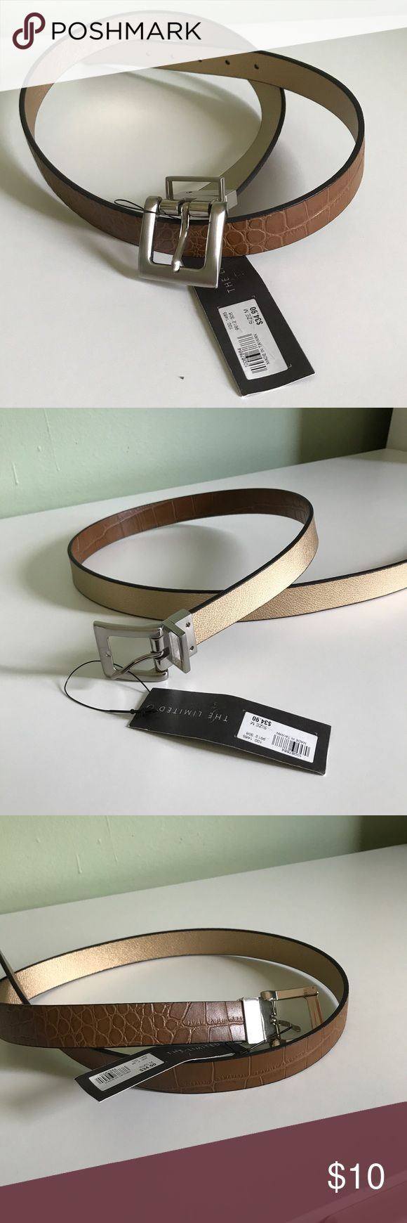 "💕NWT The Limited Gold and Brown Reversible Belt New reversible brown croco and pretty gold metallic belt! Just twist the buckle and switch the look! Leather, Silver buckle, size M, 41"" long. The Limited Accessories Belts"