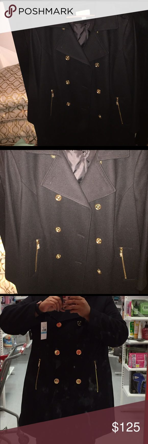 Woman's Michael Kors black wool jacket 20X NWT NWT Woman's Michael Kors black wool jacket 20X with gold buttons Michael Kors embedded Michael Kors Jackets & Coats Pea Coats