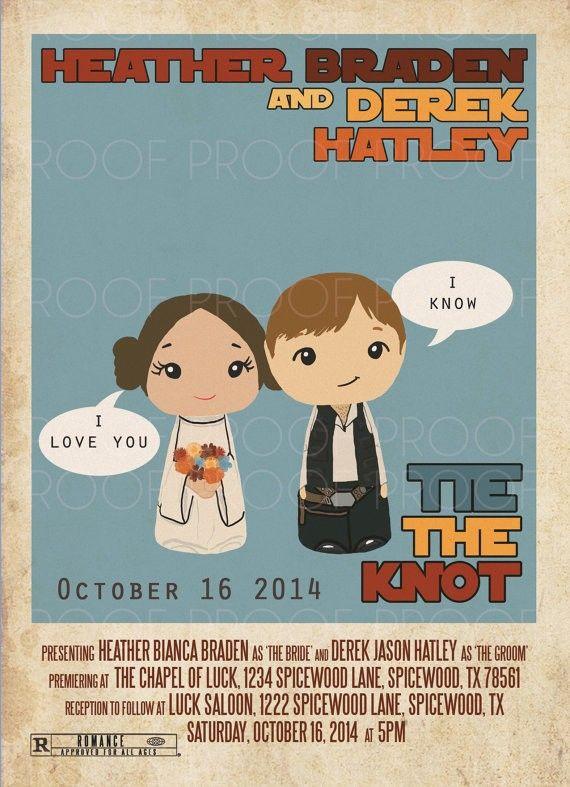 Linda inspiração para frase para convite de casamento, a partir da série de filmes Star Wars.