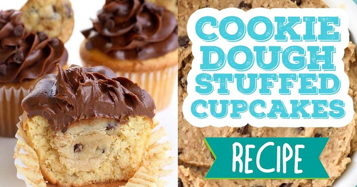 You don't have to choose between cupcakes or cookies with this recipe! Try these cookie dough stuffed cupcakes next time you need a sweet treat. #recipe #food