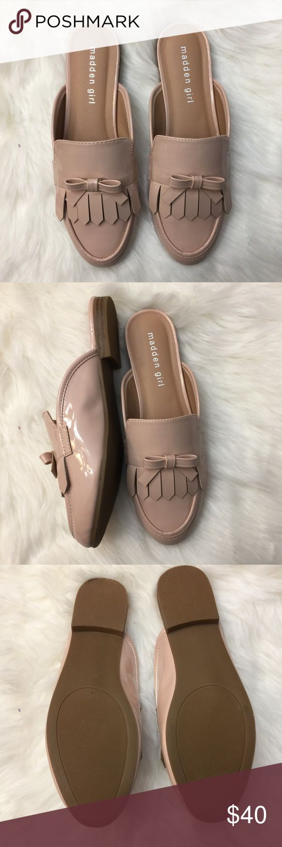 Steve Madden Girl Slip On Mules NEW Beautiful patent Mules in nude blush color Madden Girl Shoes Mules & Clogs