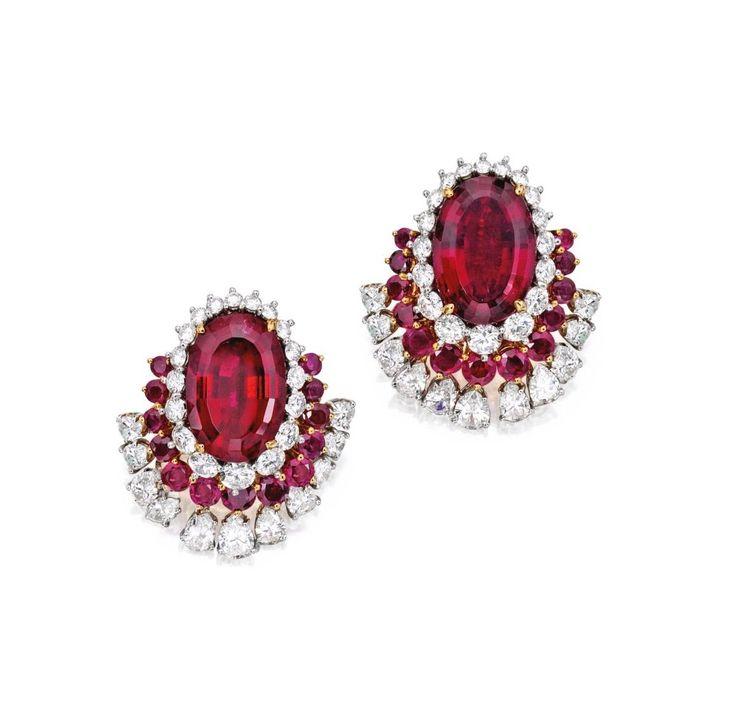 Rubellite Ruby Diamond And Platinum Earrings