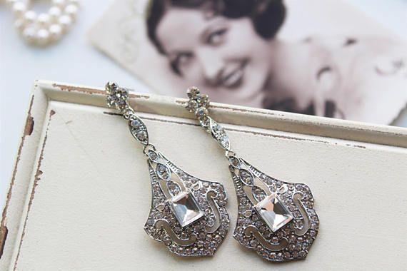 Art Deco Earrings Vintage Style Crystal Earrings Bridal