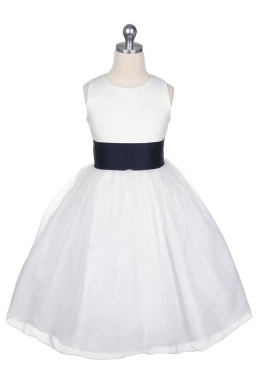 Satin Bodice Organza Skirt Flower Girl Dress with Navy Sash T5378N $46.95 on www.GirlsDressLine.Com