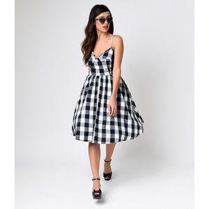 1950s Style Black & White Cattle Kate Gingham Swing Dress