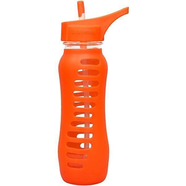 Eco Vessel Surf Sport Glass Bottle w-Flip Top Orange 22 oz.