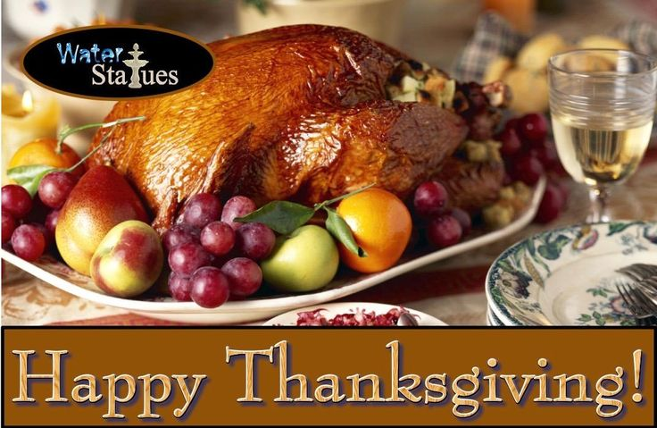 Thursday, November 23, 2017 is #ThanksgivingDay!  The first #thanksgiving was in 1621 in Plymouth.  This 3-day #feast was organized by Governor William Bradford to #celebrate the first successful corn harvest.  Spend time today with family around your #cascading #waterfountain: http://www.waterstatues.com/productslist.asp #thewaterfountainguy