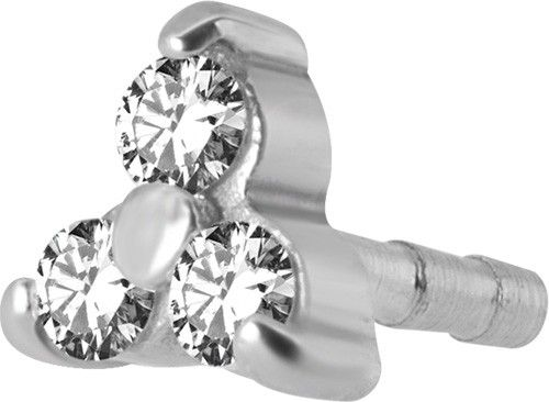PRONG SETTING SURGICAL STEEL INTERNAL JEWELLED TRINITY ATTACHMENT  FOR 14G & 16G INTERNAL BIOPLAST LABRET