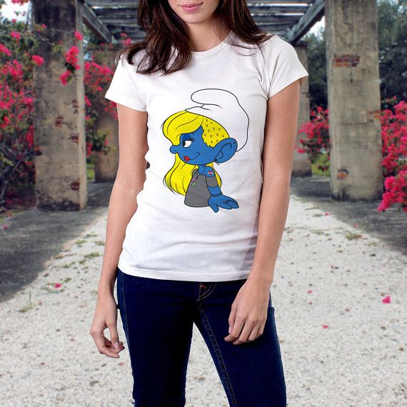 Hipster Smurfette Design Cotton Shirt by TheRizzofiedStudio for all Smurf fans  CLICK now to buy from only $20.00 Or visit www.TheRizzofiedStudio.etsy.com to view all products #Hipster #Smurfette #etsy #tshirt