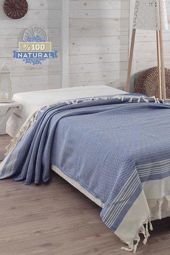 Égkék pamut ágytakaró