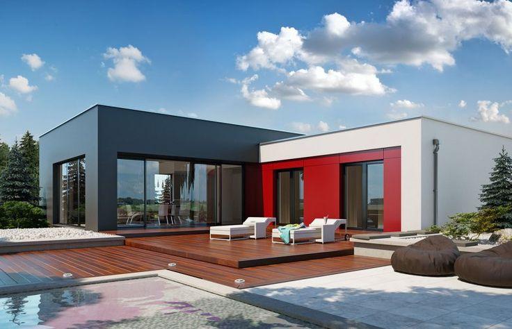 Parterowy dom jednorodzinny z dwustanowiskowym garażem, utrzymany w nowoczesnym klimacie. Zapewnia komfort i wygodę dla 4-osobowej rodziny. Atutem tego projektu jest prostota nie tylko w układzie pomieszczeń ale również w wykończeniu elewacji.